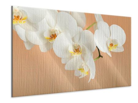 Metallic-Bild Weisse Orchideenblüten