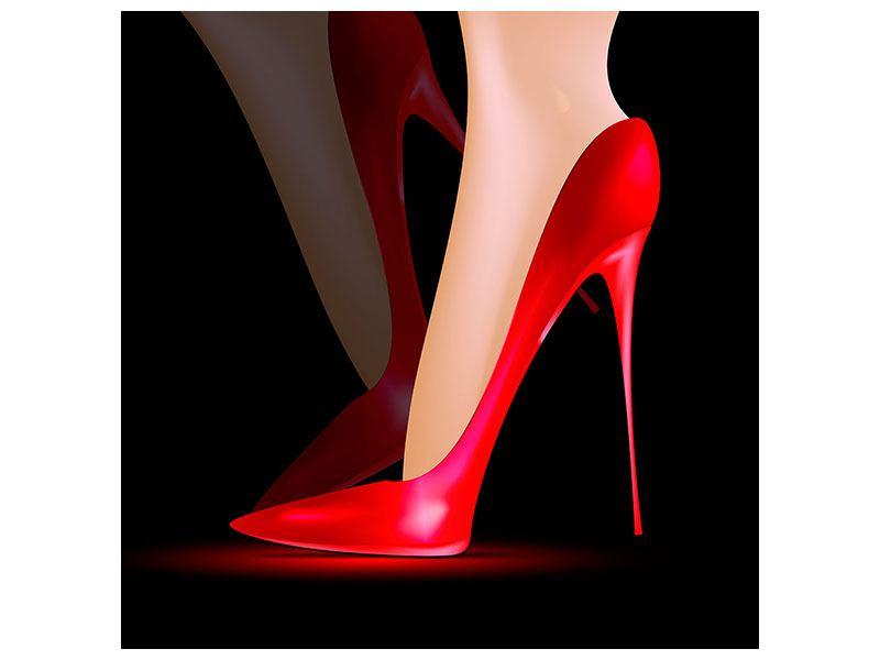 Metallic-Bild Der rote High Heel