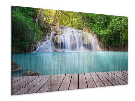 Metallic-Bild Terrasse am Wasserfall