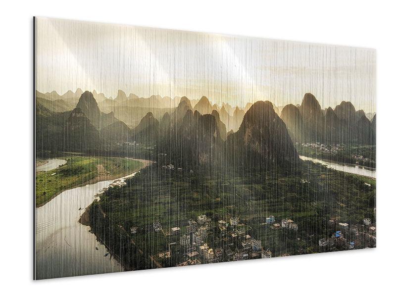 Metallic-Bild Die Berge von Xingping