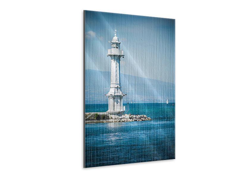 Metallic-Bild Genfer Leuchtturm