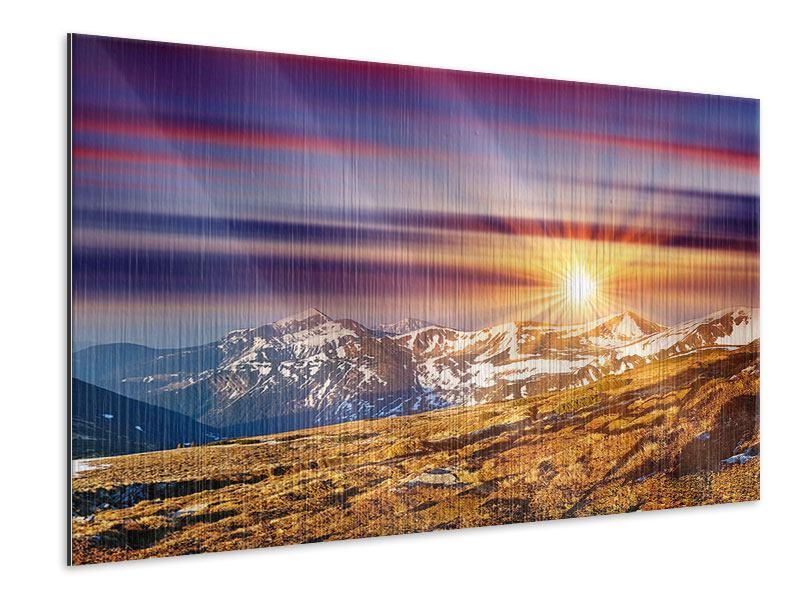 Metallic-Bild Majestätischer Sonnuntergang am Berggipfel