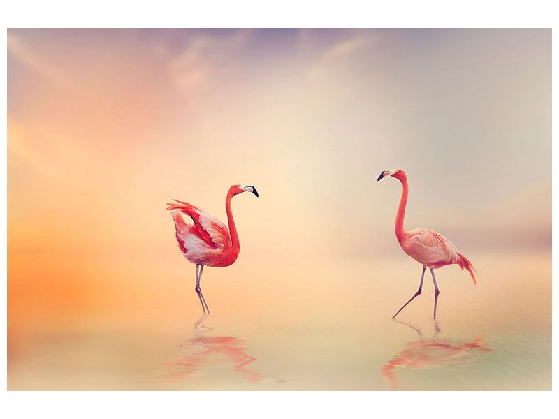 Metallic-Bild Romantische Flamingos