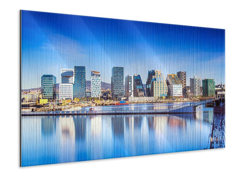 Metallic-Bild Skyline Oslo