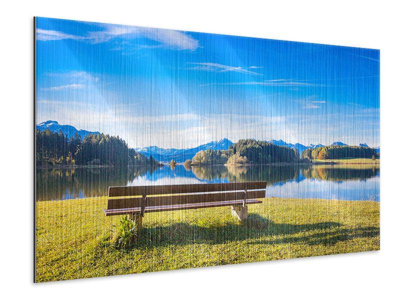 Metallic-Bild Sitzbank mit Bergpanorama