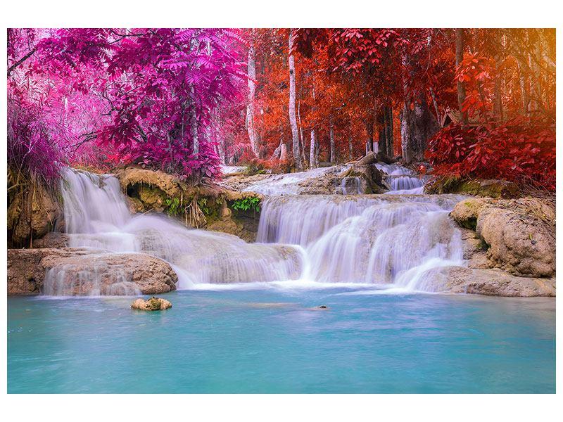 Metallic-Bild Paradiesischer Wasserfall
