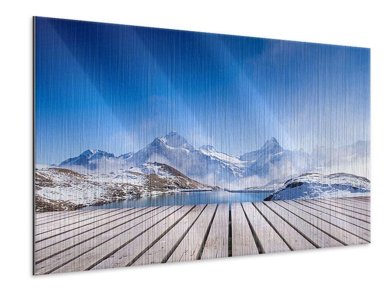 Metallic-Bild Sonnenterrasse am Schweizer Bergsee