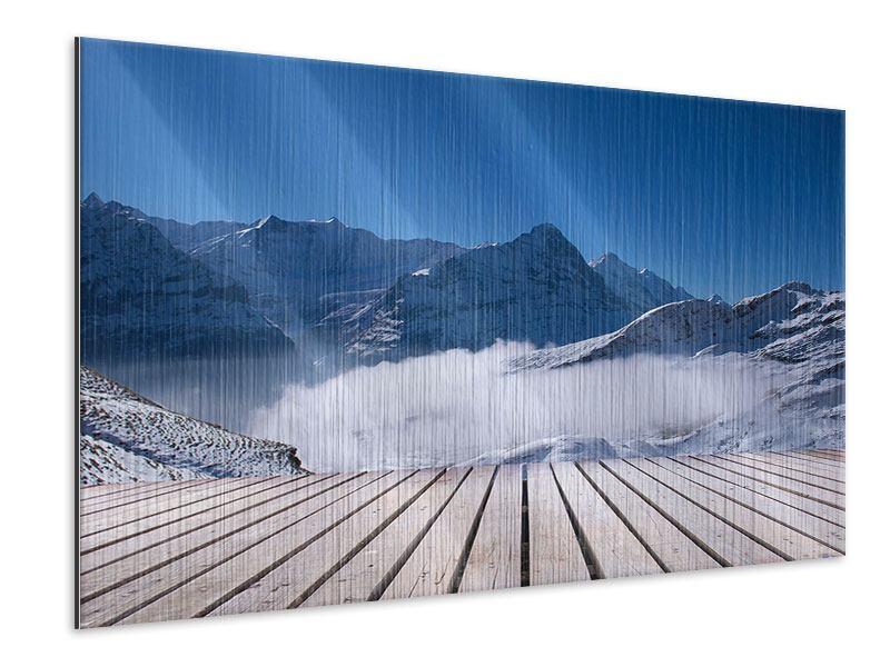 Metallic-Bild Sonnenterrasse in den Schweizer Alpen