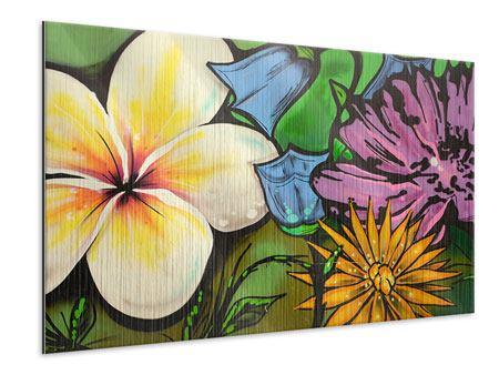 Metallic-Bild Graffiti Flowers