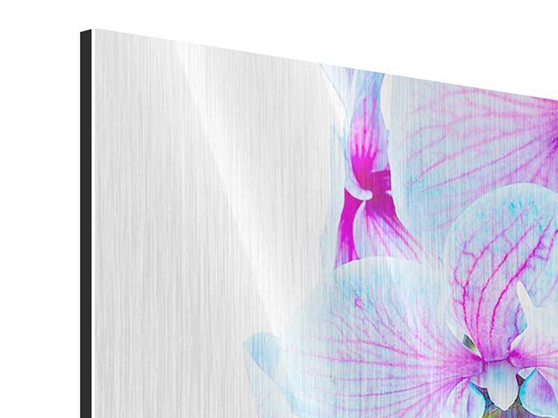 Metallic-Bild Orchideen-Schmetterling