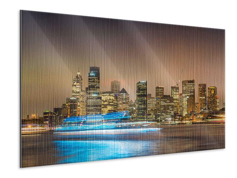 Metallic-Bild Skyline Sydney im Lichtermeer