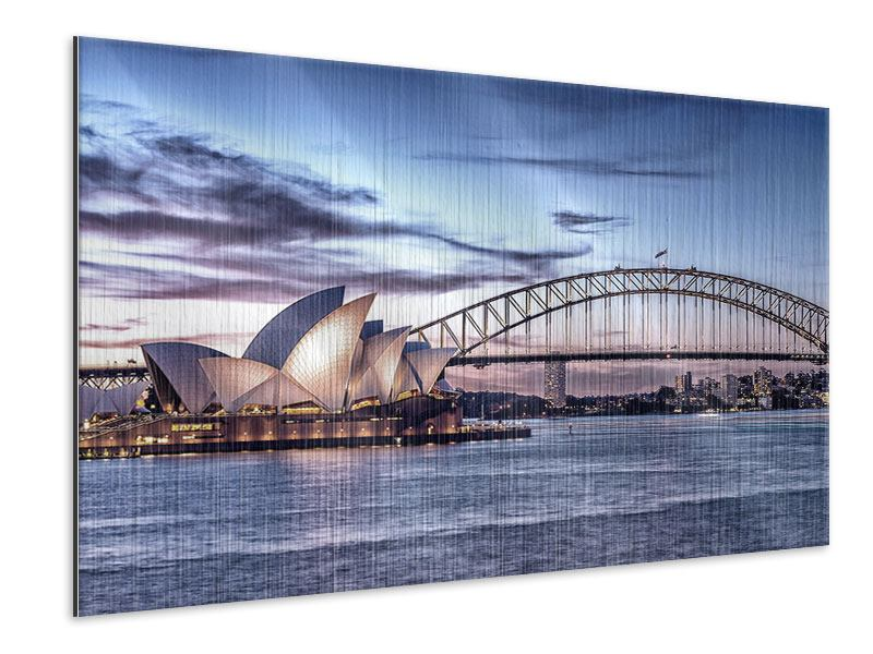 Metallic-Bild Skyline Sydney Opera House