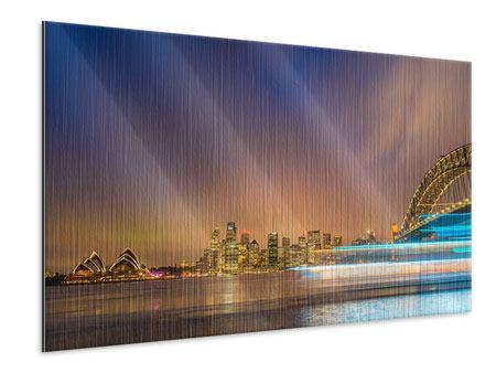 Metallic-Bild Skyline Opera House in Sydney im Abendlicht