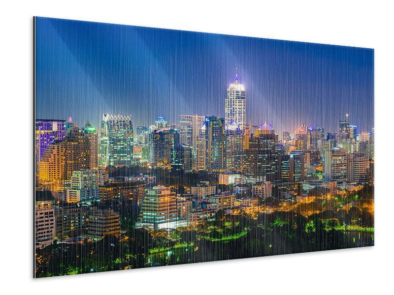 Metallic-Bild Skyline One Night in Bangkok
