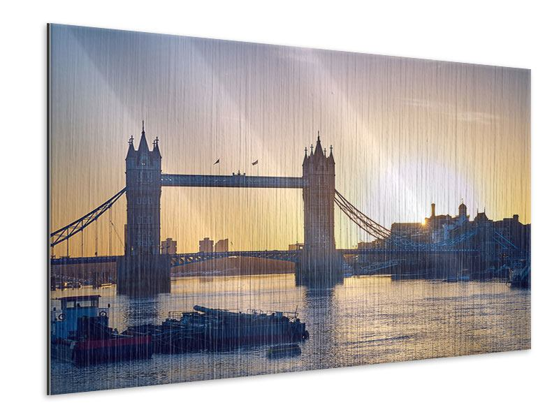 Metallic-Bild Tower Bridge bei Sonnenuntergang