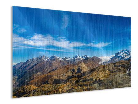 Metallic-Bild Schweizer Alpen im Frühling