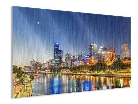 Metallic-Bild Skyline Sydney in der Abenddämmerung