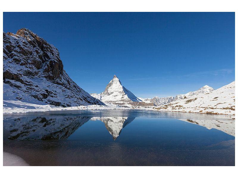 Metallic-Bild Der Riffelsee am Matterhorn