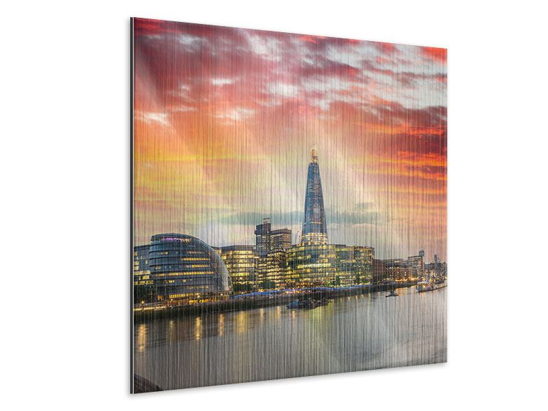 Metallic-Bild Skyline London im Abendrot