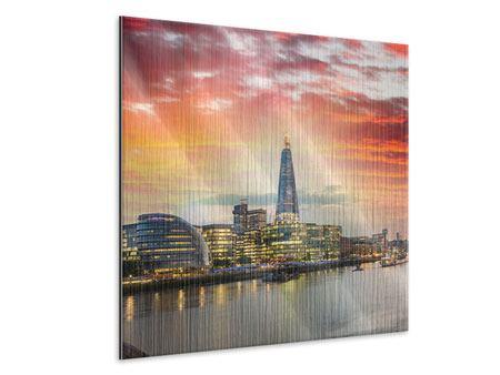 Metallic-Bild Skyline London im Abendrot