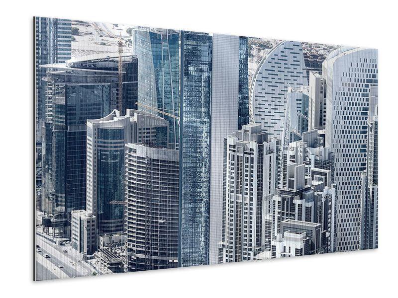 Metallic-Bild Die Wolkenkratzer von Dubai