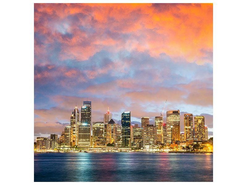 Metallic-Bild Skyline Das Lichtermeer von Sydney
