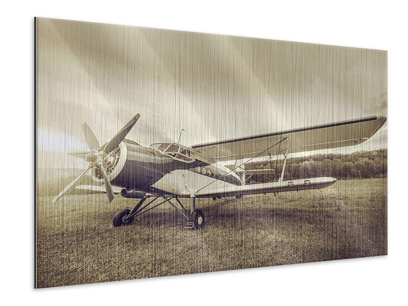 Metallic-Bild Nostalgisches Flugzeug im Retrostyle