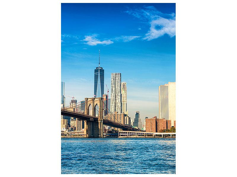 Metallic-Bild Skyline New York and Brooklyn Bridge