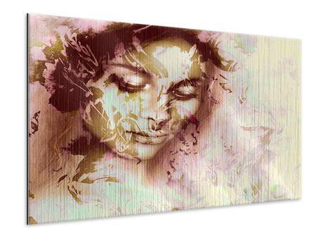 Metallic-Bild Romantisches Portrait einer Schönheit