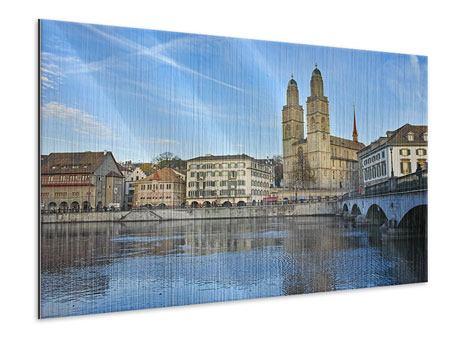 Metallic-Bild Die Altstadt von Zürich