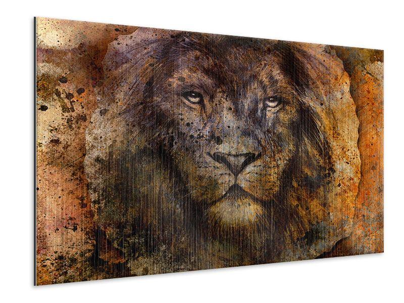 Metallic-Bild Portrait eines Löwen