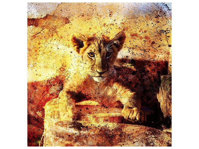 Metallic-Bild Kunstvolle Löwin