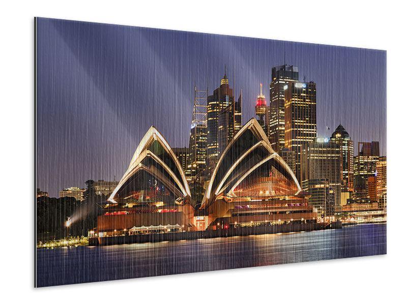 Metallic-Bild Skyline Mit dem Boot vor Sydney