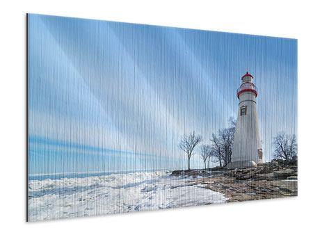 Metallic-Bild Leuchtturm im Schnee