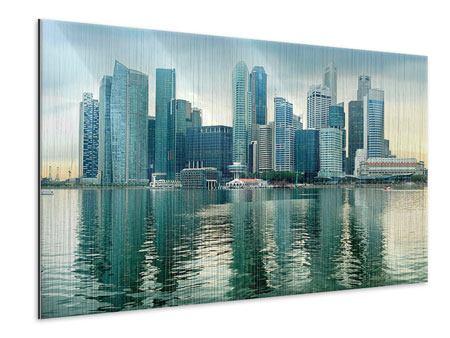 Metallic-Bild Skyline Sonnenaufgang in Singapur