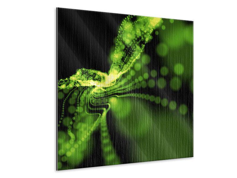 Metallic-Bild Grünes Lichterspiel