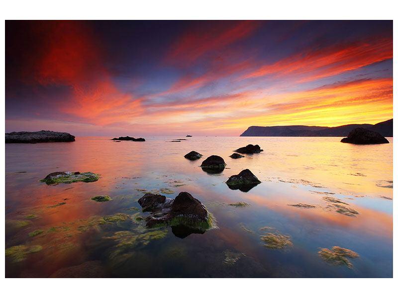 Metallic-Bild Ein Sonnenuntergang am Meer