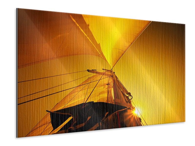 Metallic-Bild Segelboot im Sonnenuntergang