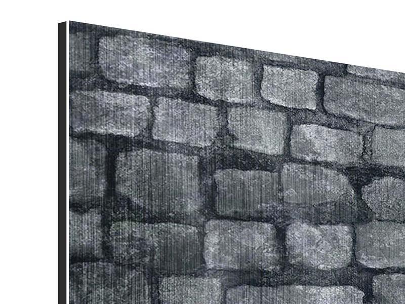 Metallic-Bild Graue Steinmauer