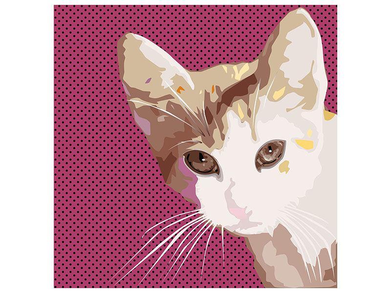 Metallic-Bild Pop Art Katze