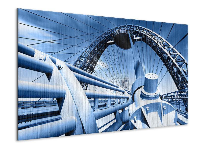 Metallic-Bild Avantgardistische Hängebrücke