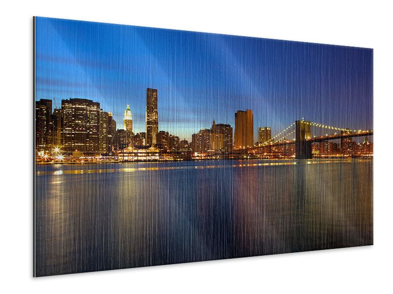 Metallic-Bild Skyline Manhattan im Lichtermeer
