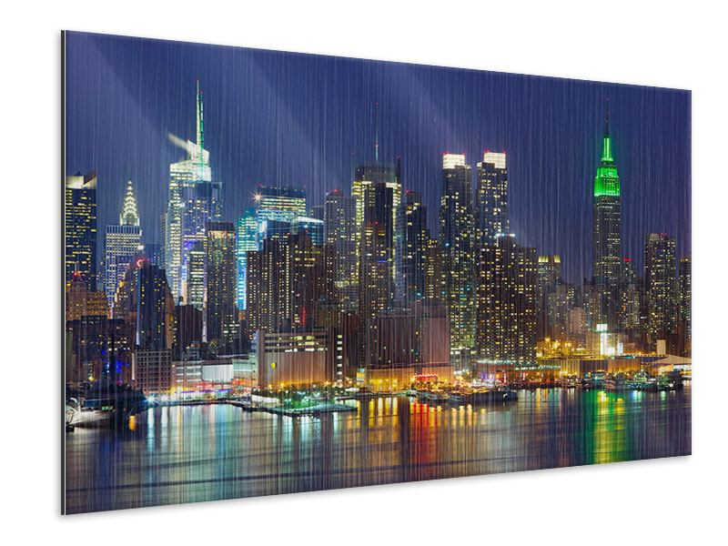 Metallic-Bild Skyline New York Midtown bei Nacht