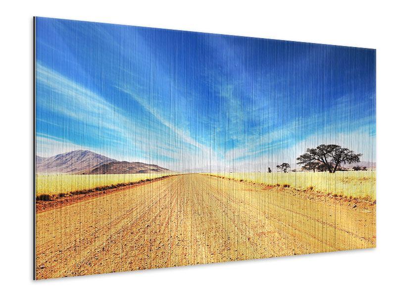 Metallic-Bild Eine Landschaft in Afrika