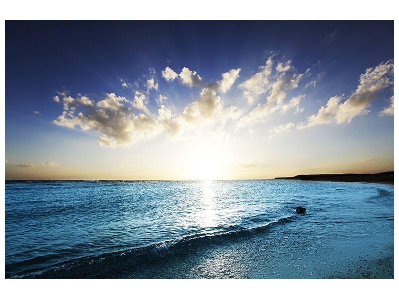 Metallic-Bild Das Meer im Sonnenaufgang
