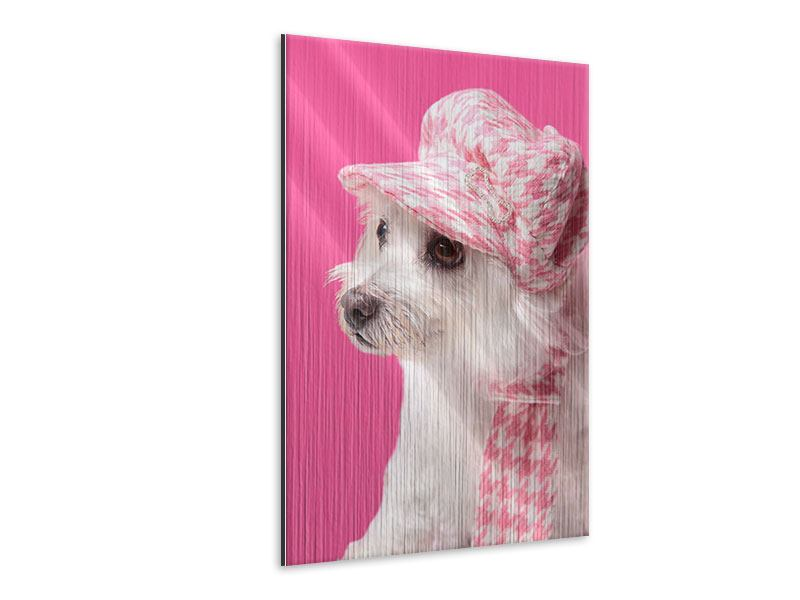 Metallic-Bild Pretty Dog In Pink