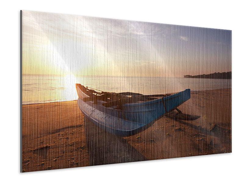 Metallic-Bild Das gestrandete Boot