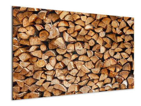 Metallic-Bild Gestapeltes Holz