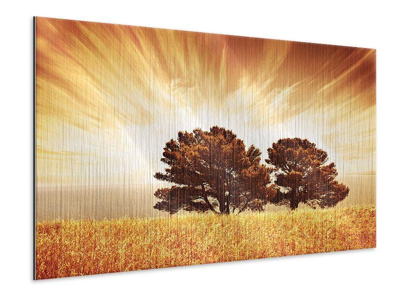 Metallic-Bild Bäume im Lichtspektakel