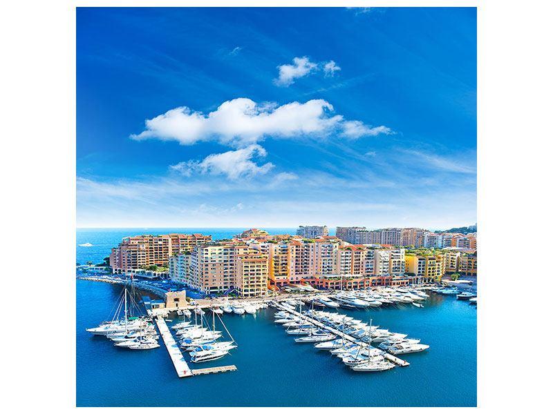 Metallic-Bild Skyline Panoramablick Jachthafen Monaco